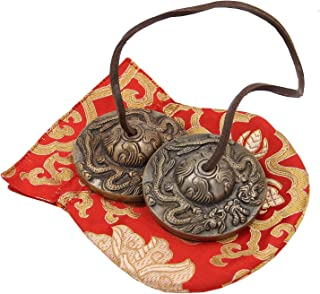 """DharmaObjects Tibetan Premium Quality""""Dragon"""" Tingsha Cymbals 2.5"""" With Pouch"""