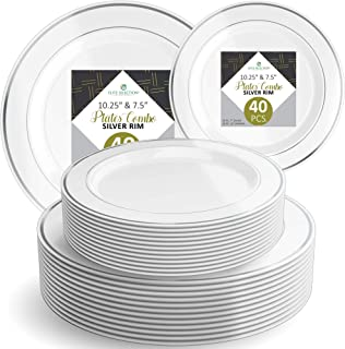 """Disposable Plastic Plate Set - 40 Pack Dinnerware with 10.25"""" Dinner and 7.5"""" Salad Plate (20 Count Each) with Elegant Silver Double Trim for Wedding, Birthday, Party - by Elite Selection"""