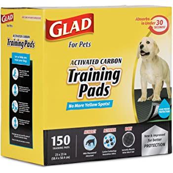 Glad for Pets Black Charcoal Puppy Pads | Puppy Potty Training Pads That ABSORB & NEUTRALIZE Urine Instantly | New & Improved Quality, 150 count
