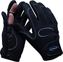 LURESHOP.EU Stretch Neoprene Fishing Gloves 2 Cut Fingers - Best Use in Light Cold Weather Conditions - Size M, L and XL