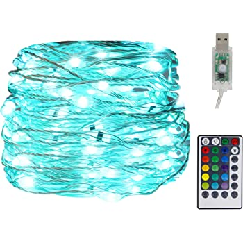 Twinkle Star USB Fairy String Lights, 33Ft 100 LED Waterproof 16 Colors Changing Sliver Wire Lights with 4 Lighting Modes Remote Control for Craft Bedroom Ceiling Halloween Christmas Decoration