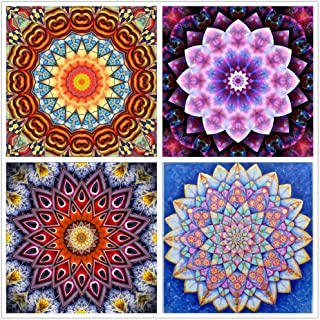 4 Piece Set 5D DIY Diamond Painting Set Decorative Counter Sticker Full Diamond Rhinestone Diamond Embroidery Painting, Mandala Flower Painting (12X12inch)
