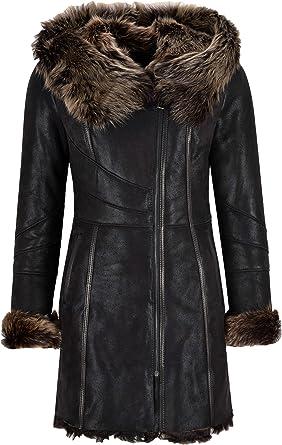 Carrie CH Hoxton Cappotto da Donna Toscana Cappotto Lungo Invernale Nero 3/4 Giacca in Montone Shearling K11211