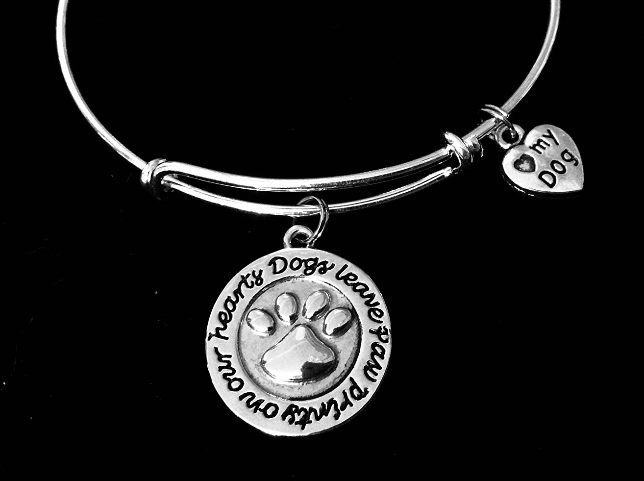 Love My Dog Jewelry Dogs Leave Paw Prints on our Heart Charm Adjustable Bracelet Silver Expandable Charm Bangle Animal Lover One Size Fits All Gift Custom Options Available