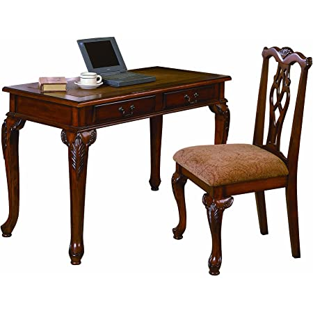 Acme Furniture 2pc Home Office Writing Desk Side Chair Set Furniture Decor