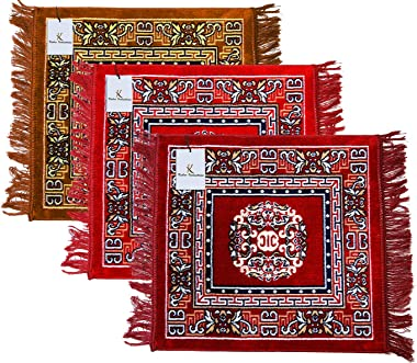Kuber Industries Rug (Gold and Red and Maroon, Velvet, Standard)