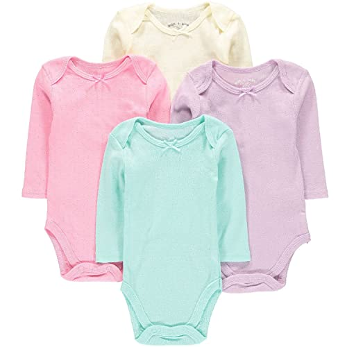 c7b335a2d Wan-A-Beez 4 Pack Baby Girls' and Boys' Long Sleeve Bodysuits