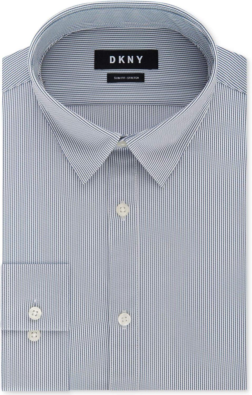 DKNY Mens Active Stretch Stripe Button Up Dress Shirt