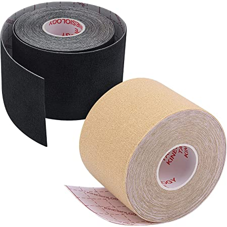 2 Roll Boob Tape, Breast Lift Tape16.4ft/5cm X 2inch/5m, Breathable Chest Support Tape, Boob Tape Strong Adhesion and Not Fall Off Easily, Waterproof and Sweat-Proof(Black and Beige)