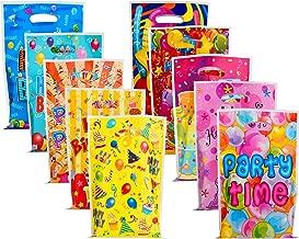 BBTO 100 Stücke Kunststoff Party Gefallen Taschen Kunststoff Goodie Geschenk Tüten für Geburtstag Party Feier, 10 Stile