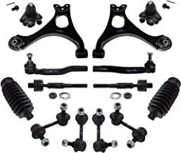 PartsW 14 Pc Rear & Front Suspension Kit for Honda Civic 06-11/1.8L L4 Engine Models/Lower Control Arms, Sway Bar End Link, Rack & Pinion Bellow Boots, Tie Rod Linkages & Lower Ball Joints