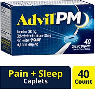 Advil PM (40 Count) Pain Reliever/Nighttime Sleep Aid Caplet, 200mg Ibuprofen, 38mg Diphenhydramine