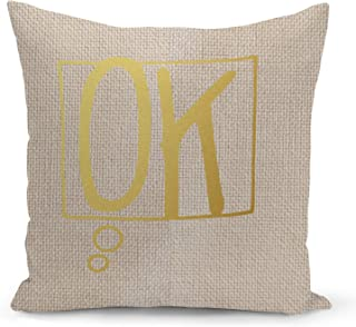 Ok Beige Linen Pillow with Metalic Gold Foil Print Speech Bubble Couch Pillows