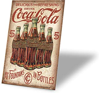 Tin Signs Delicious and Refreshing Drink Coca Cola Retro Vintage Bar Signs 12 X 8 Inch
