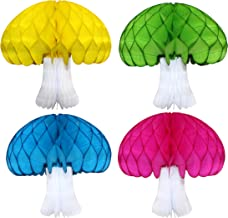 product image for Rainbow Themed Set of 4 Large 16 Inch Honeycomb Tissue Paper Mushroom Party Decorations (Turquoise, Lime, Yellow, Cerise with White Base)
