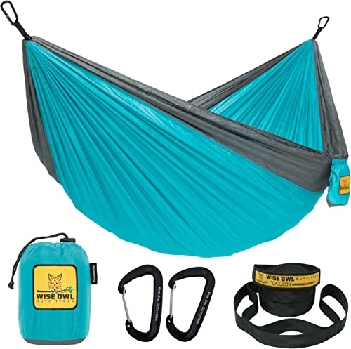 Wise Owl Outfitters Camping Hammocks - Portable Hammock Single or Double Hammock for Outdoor, Indoor w/ Tree Straps -...