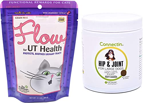 wholesale InClover Flow Soft Chews for Cats, Daily Support for UT Health (2.1 Oz) & Connectin Hip popular and Joint Tablet Supplement for outlet online sale Large Dogs online