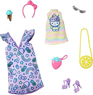 Barbie Storytelling Fashion Pack of Doll Clothes Inspired by Hello Kitty & Friends: Dress, Top & 6 Sweet-Themed Accessorie...