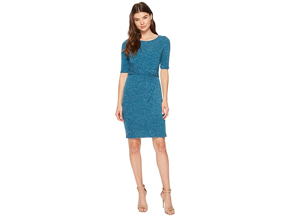 Ellen Tracy Sweater Dress with Hardware Detail At The Waist (Peacock) Women