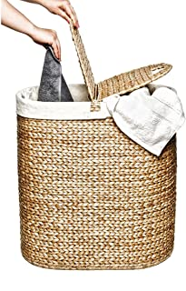 Seville Classics Water-Hyacinth Lidded Oval Double Laundry Hamper, Small 8-Inch