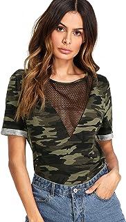 Romwe Women's Casual Sheer Mesh V Neck Short Sleeve Camo Print Tee Shirt Tops