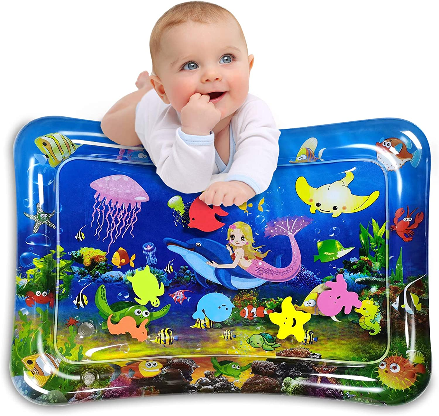 Infinno Inflatable Tummy Time Mat Premium Baby Water Play Mat for Infants and Toddlers Activity Play Center Baby Toys 3 6 9 12 Months, Strengthen Your Babies' Muscles, Mermaid Theme