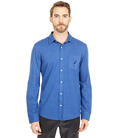 Nautica Long Sleeve Woven Shirt (Stellar Blue Heather) Men