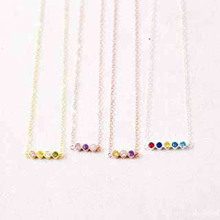 Baby Birthstone Necklace in Sterling Silver, Rose Gold & Gold by Caitlyn Minimalist Perfect Gift for Mom and Grandma