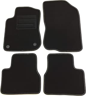 Front /& Rear with Heel Pad Black Edging Lusso Floor Carpet Mats for Car 2-Piece Set Tailored//Compatible to Fit Vauxhall Combo Van 2012 to 2018 with Checkered Sport logos /& 2 Clips