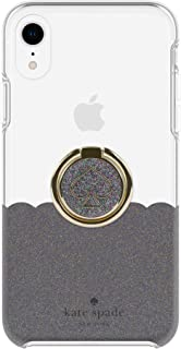Kate Spade New York Gift Set Bundle   for Apple iPhone XR   Protective Phone Case [Scalloped (Black Multi Glitter/Clear)] and Stability Ring Stand [Spade Black Multi Glitter Enamel]