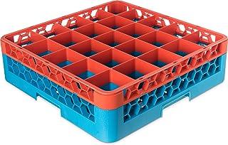 "Carlisle RG25-1C412 OptiClean 25 Compartment Glass Rack with 1 Extender, 5.56"", Polypropylene, Orange/Carlisle Blue"