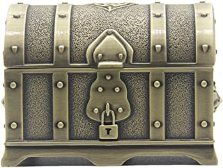 AVESON Rectangle Vintage Metal Treasure Chest Trinket Jewelry Box Gift Box Ring Case for Girls Ladies Women, Small, Bronze