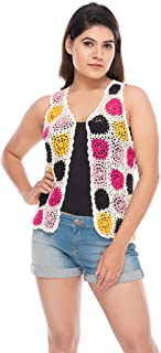Floral Hand Knit Crochet Lace Sleeveless Shrugs or Cover-Ups, Front Open Long Blouse or Top Cardigan Stretchable