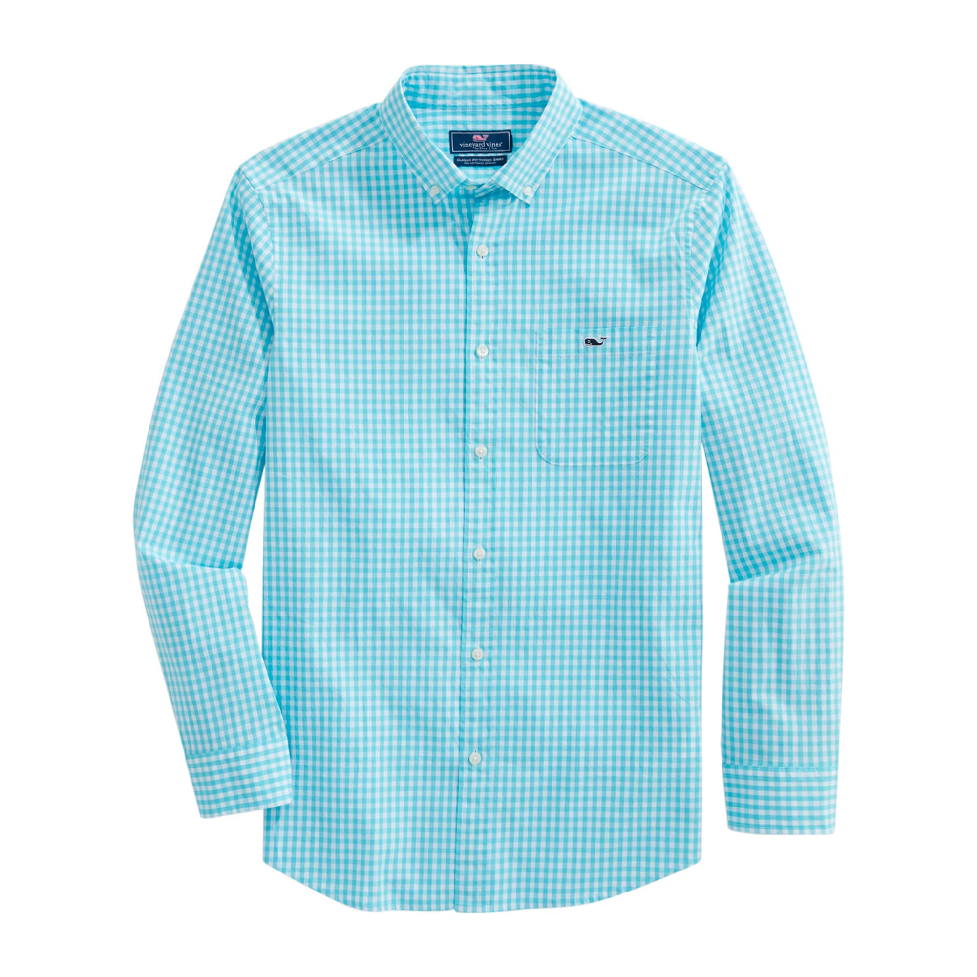Men's Classic Fit Gingham Shirt in Stretch Cotton