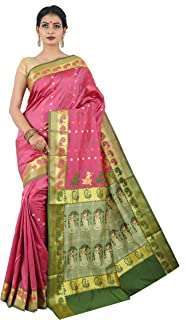 a2f106390 Misal Sarees Women's Baluchari Silk Saree of Bengal Handloom with Blouse  Piece (MS1649, Pink