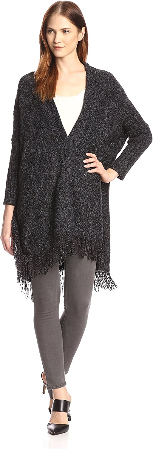 Allison Collection Women's Fringe Hem Cape Sweater
