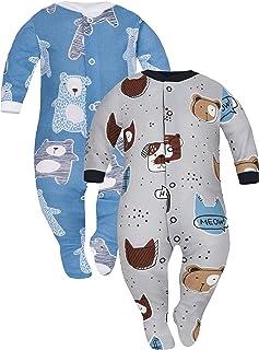 Sibinulo Jungen Mädchen Baby Schlafstrampler Babykleidung Set Größen 0 bis 24 Monate 9-24 mit rutschfest, 2er Pack Mischen