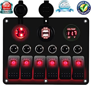 DCFlat Overload Protection 6 Gang Waterproof Car Marine Boat Circuit LED On/Off Toggle Rocker Switch Panel with Fuse Digital Voltmeter + 12V Cigarette Socket + Double USB Power Charger Adapter