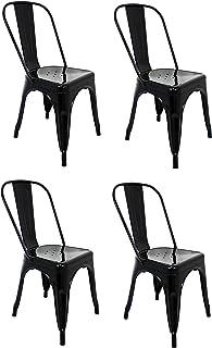 La Silla Española - Pack 4 Sillas estilo Tolix con respaldo. Color Negro. Medidas 85x54x45,5