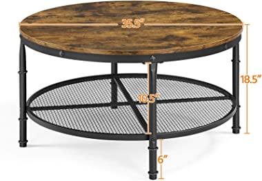 YAHEETECH 2-Tier 35.5in Rustic Round Coffee Table,Rustic Brown Industrial Furniture Table for Living Room w/Iron Mesh Storage