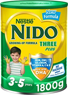 Nestle NIDO Three Plus Growing Up Milk Powder Tin For Toddlers 3-5 Years, 1800g, Pack of 1