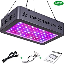 MAXSISUN 600W LED Grow Light Full Spectrum for Indoor Plants Veg and Bloom (60pcs 10W LEDs)