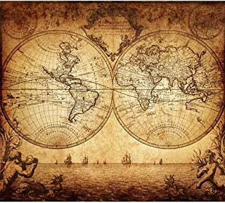 Vintage Old World Map Poster Print Art 1733 Nautical Sailing Ship Map Home Wall Decor