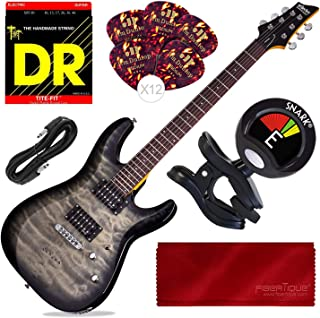 Schecter C-6 Plus Solid-Body Electric Guitar, Charcoal Burst with Tuner and Accessory Bundle