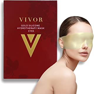 Vivor Gold Silicone Reusable Eye Mask - Luxurious Hydrotherapy Anti aging Experience to Reduce Eye Bags, Crow's Feet, Wrinkles, and Fine Lines. Reusable Up To 100 Times!