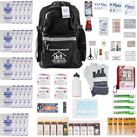 First My Family All-in-One 4 Person, 72 Hour Bug Out Bag Emergency Survival Kit for Family. Be Prepared for Hurricanes, Floods, Tsunami, Other Disasters