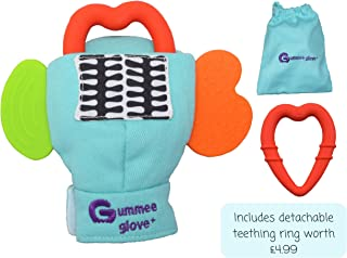 Gummee Glove Baby Teething Mitten Large 6 Months + Premium Quality Detachable Teether Ring and Travel Bag - Turquoise - Undroppable - Soothe Babies Painful Gums Naturally