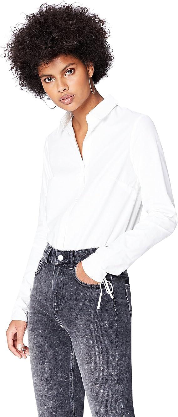 Marca Amazon - find. Camisa Básica con Puño Fruncido de Cordones para Mujer