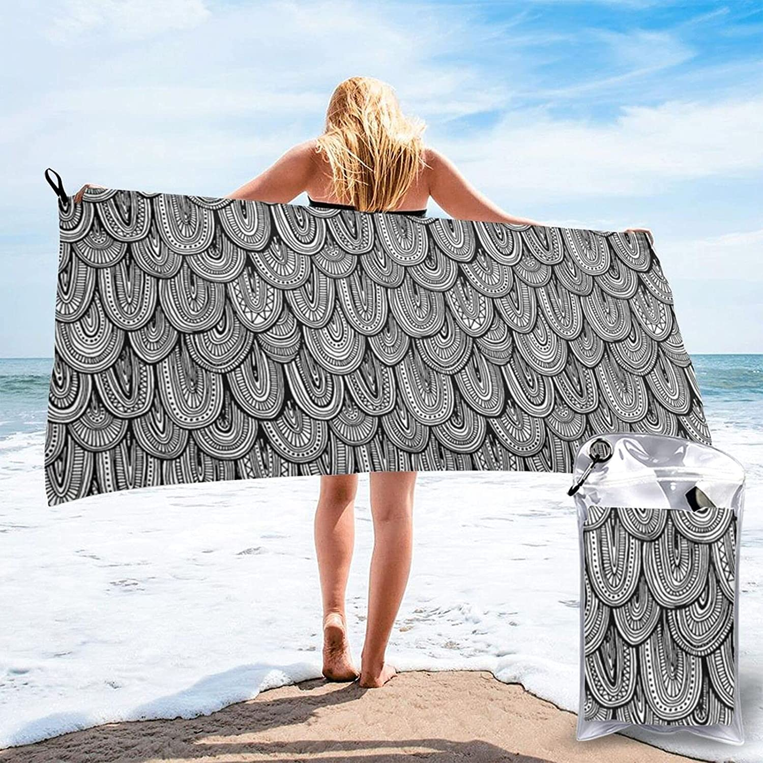 N\\A Doodle Scales Black Product White Beach Adult Microfiber Max 73% OFF Larg Towel