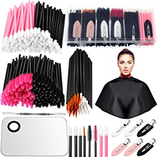 260 Pieces Disposable Makeup Tools Kit, Includes Eyeliner Brushes Mascara Wands Lipstick Applicators Makeup Hair Clips Plastic Box Short Waterproof Cape Stainless Steel Makeup Palette and Spatula